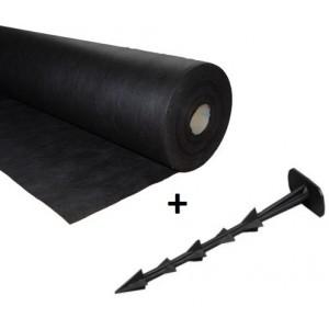 Agrowłóknina czarna 1,6x100 50g/m2 +100 kołków