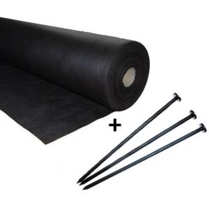 Agrowłóknina czarna 1,6x50 50g/m2 +100 szpilek 12cm