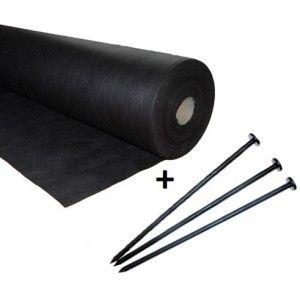 Agrowłóknina czarna 1,6x100 50g/m2 +100 szpilek 12cm